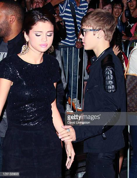 Singer/actress Selena Gomez and recording artist Justin Bieber attend the premiere of Lionsgate Films' Abduction at Grauman's Chinese Theatre on...