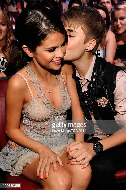 Singer/actress Selena Gomez and singer Justin Bieber attend the 2011 Teen Choice Awards at Gibson Universal Amphitheatre on August 7 2011 in...