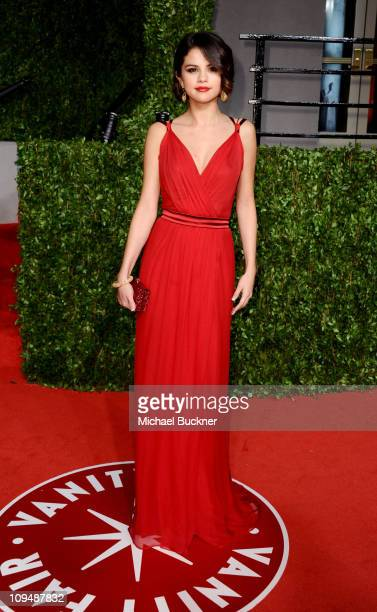 Singeractress Selena Gomez arrives at the Vanity Fair Oscar party hosted by Graydon Carter held at Sunset Tower on February 27 2011 in West Hollywood...