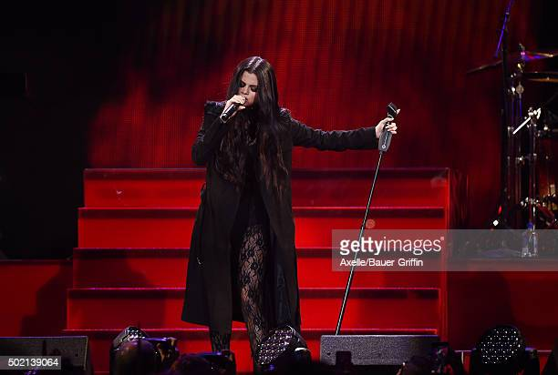 Singer/actress Selena Gomez performs at 1027 KIIS FM's Jingle Ball 2015 presented by Capital One at Staples Center on December 4 2015 in Los Angeles...