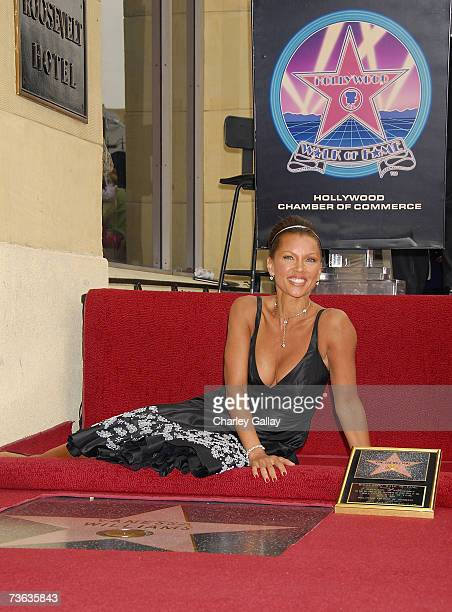 Singer/actress Vanessa Williams poses as she receives a star on the Hollywood Walk of Fame March 19 2007 in Los Angeles California
