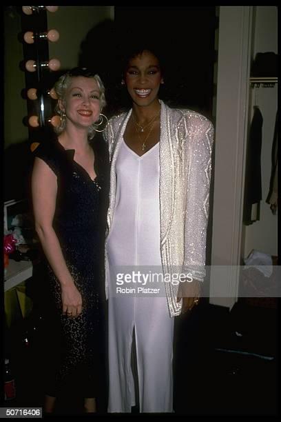Singer/actress Whitney Houston w singer Cyndi Lauper