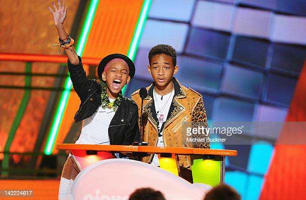 Singer/actress Willow Smith and singer/actor Jaden Smith speak onstage at Nickelodeon's 25th Annual Kids' Choice Awards held at Galen Center on March...