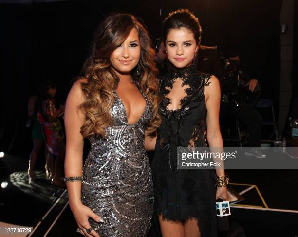 Singer/actresses Demi Lovato and Selena Gomez arrive at the 2011 MTV Video Music Awards at Nokia Theatre LA LIVE on August 28 2011 in Los Angeles...