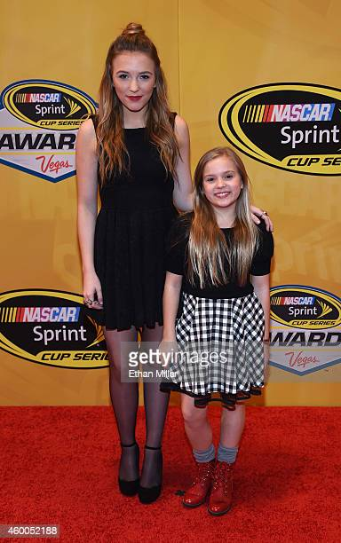 Singer/actresses Lennon Stella and Maisy Stella arrive at the 2014 NASCAR Sprint Cup Series Awards at Wynn Las Vegas on December 5 2014 in Las Vegas...