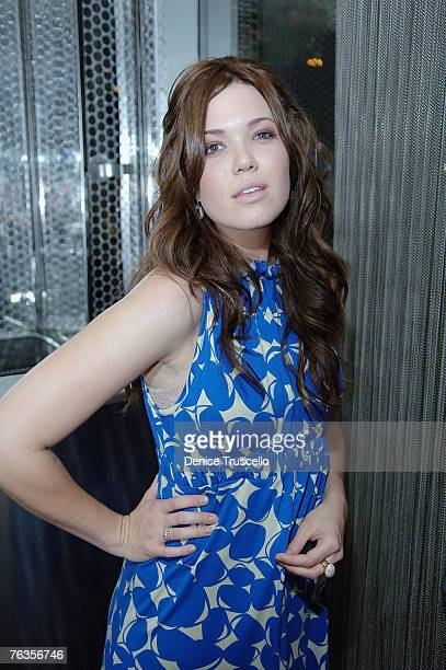 Singer/Actress/Fashion Designer Mandy Moore poses for photos during her Mblem Spring Collection debut party at Ghostbar at The Palms Hotel and Casino...