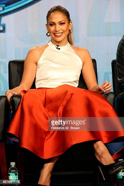 Singer/actress/judge Jennifer Lopez speaks onstage during the 'American Idol' panel discussion at the FOX portion of the 2015 Winter TCA Tour at the...