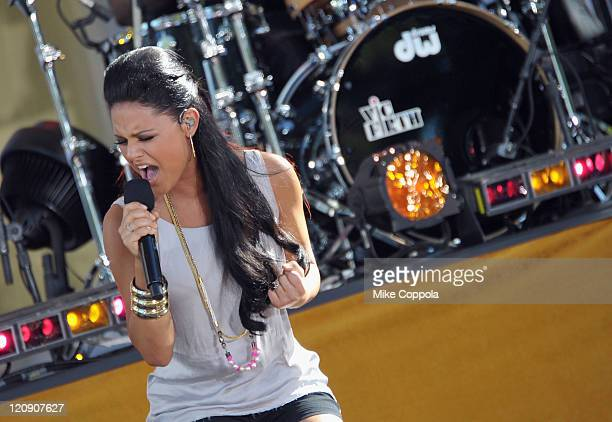 Singer/American Idol runner up Pia Toscano performs on ABC's 'Good Morning America' at Rumsey Playfield Central Park on August 12 2011 in New York...