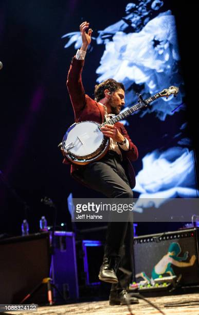 Singer/banjo player Scott Avett of The Avett Brothers performs at Bojangles Coliseum on December 30 2018 in Charlotte North Carolina