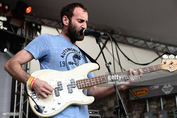 Singer/bass player Matt Flegel of Viet Cong performs onstage at the Spin Media party at Stubbs BBQ on March 20 2015 in Austin Texas