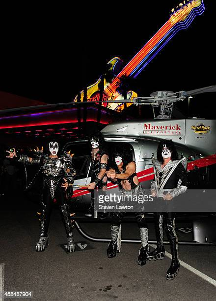 Singer/bassist Gene Simmons drummer Eric Singer singer/guitarist Paul Stanley and guitarist Tommy Thayer of Kiss arrive at the Hard Rock Hotel Casino...