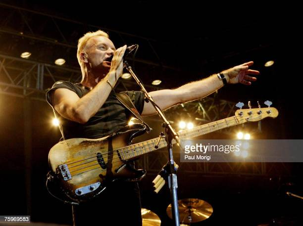 Singer/Bassist Sting of The Police performs as part of the 2nd Annual Virgin By Virgin Mobile 2007 Festival at Pimlico Racetrack on August 4 2007 in...