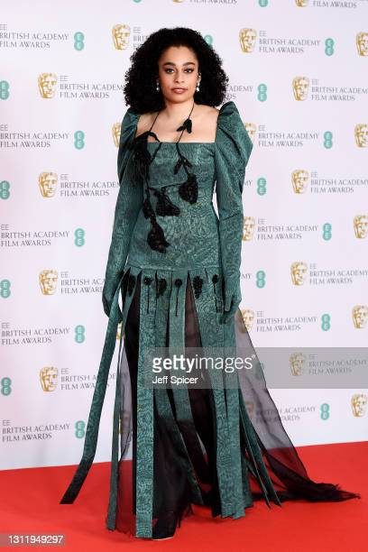 "Singer Celeste, who will perform ""Hear My Voice"" from Best Film nominee ""The Trial of the Chicago 7"", attends the EE British Academy Film Awards 2021..."