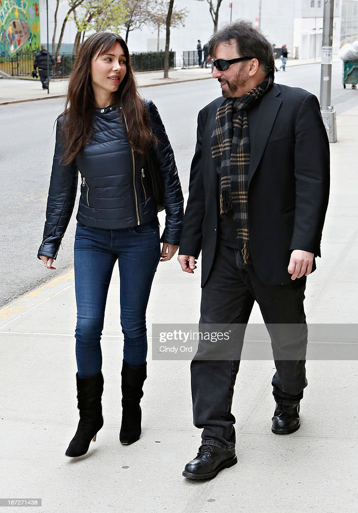 Singer/composer Oksana Grigorieva (L) departs after visiting CBS's 'The Couch' at CBS Studios on April 23, 2013 in New York City.