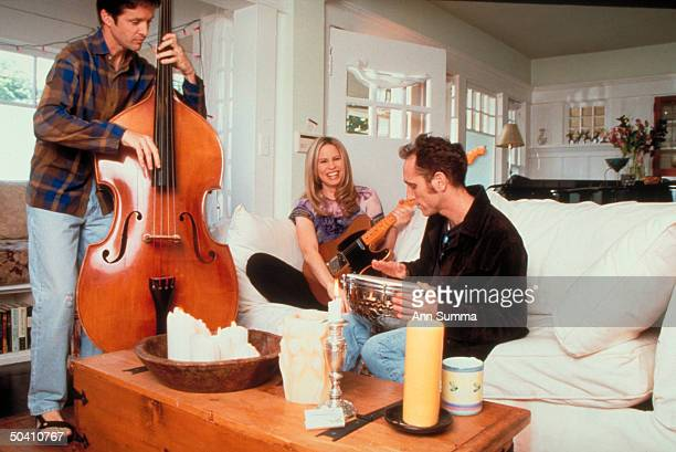 Singer/composer/actress Vonda Shepard hanging out w her friends bassist Jim Hanson drummer Andy Kamman at her home
