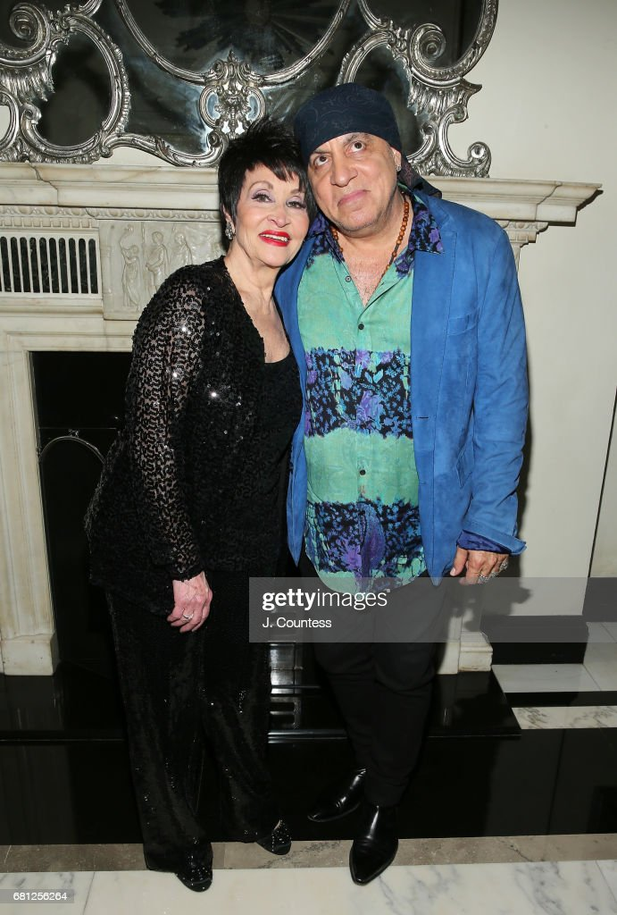 Singer/dancer Chita Rivera and musician Steven Van Zandt pose for a photo at Cafe Carlyle on May 9, 2017 in New York City.
