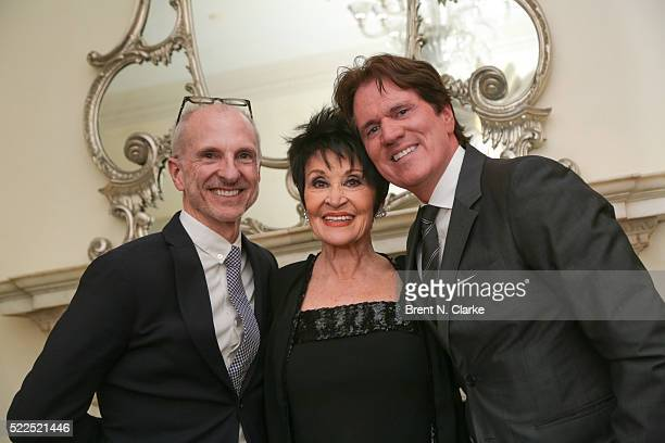 Singer/dancer Chita Rivera poses for photographs with John DeLuca and Rob Marshall following her debut performance at the Cafe Carlyle on April 19...