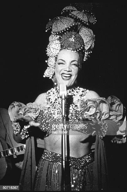 Singer/dancer/actress Carmen Miranda the Brazilian Bombshell performing on stage