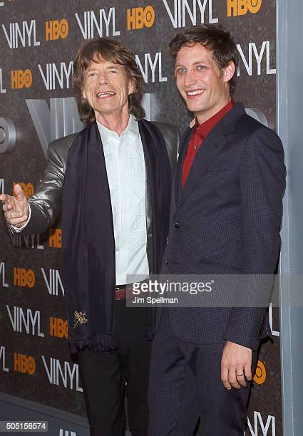 Singer/executive producer Mick Jagger and actor James Jagger attend the 'Vinyl' New York premiere at Ziegfeld Theatre on January 15 2016 in New York...