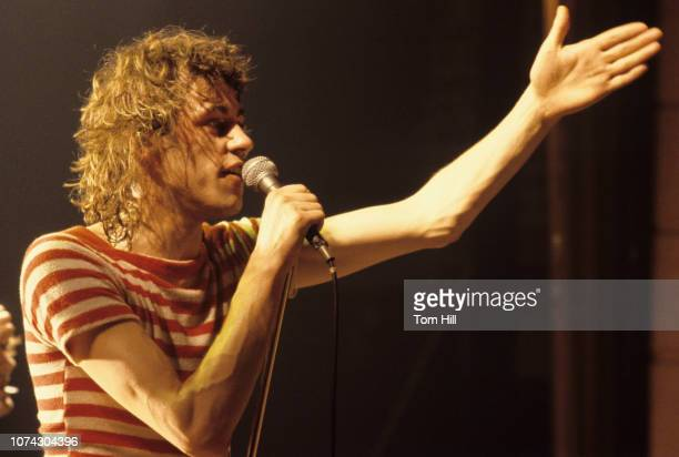 Singerfrontman Bob Geldof performs with The Boomtown Rats at Alex Cooley's Capri Ballroom on March 28 1979 in Atlanta Georgia