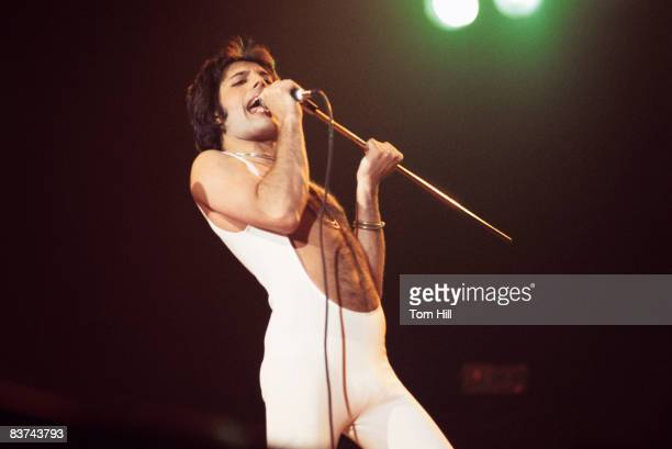 Singerfrontman Freddie Mercury performs with Queen at the Omni Coliseum on February 21 1977 in Atlanta Georgia