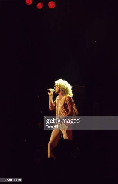 Singerfrontman Roger Daltrey of The Who performs at Murphy Athletic Center of Middle Tennessee State University on November 261975 in Murfreesboro...