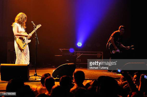 Singer/guitarist Bethany Cosentino and guitarist Bobb Bruno of Best Coast perform live at The Wiltern on May 18 2012 in Los Angeles California