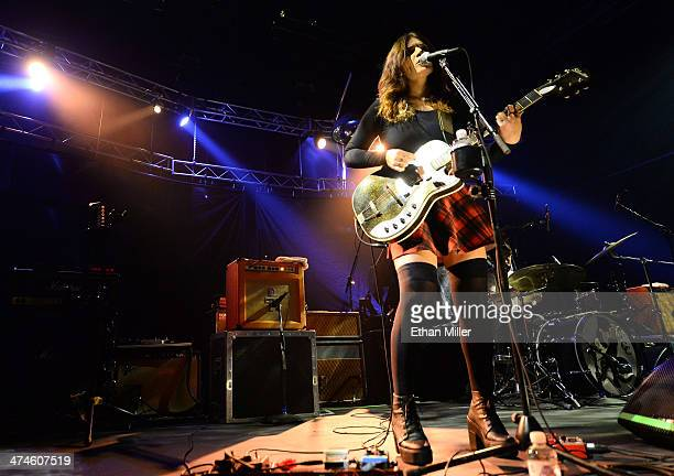 Singer/guitarist Bethany Cosentino of Best Coast performs as the group opens for the band Pixies at The Joint inside the Hard Rock Hotel Casino on...