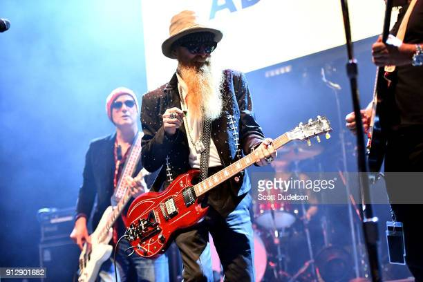 Singer/guitarist Billy Gibbons of the band ZZ Top makes a special appearance during the Adopt The Arts annual rock gala at Avalon Hollywood on...