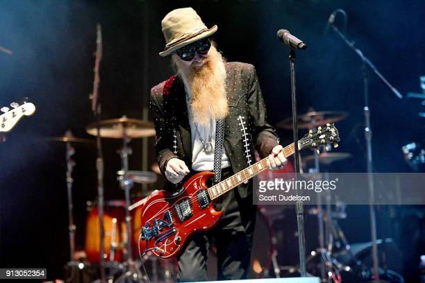 Singer/guitarist Billy Gibbons of the band ZZ Top makes a special appearance with Kings of Chaos during the Adopt The Arts annual rock gala at Avalon...