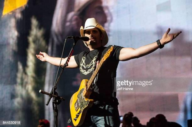 Singer/guitarist Brad Paisley performs at PNC Music Pavilion on September 8 2017 in Charlotte North Carolina