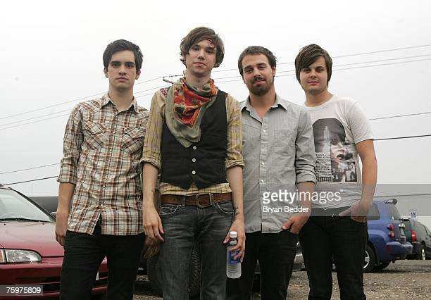 Singer/Guitarist Brendon Urie Guitarist Ryan Ross Bassist Jon Walker and Drummer Spencer Smith of Panic At the Disco backstage at the Virgin Festival...