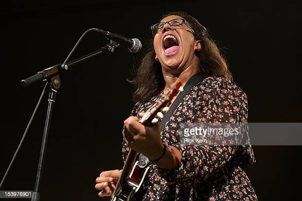 Singer/guitarist Brittany Howard of Alabama Shakes performs in concert at Stubb's BarBQ on October 11 2012 in Austin Texas