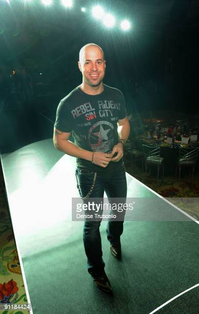 Singer/guitarist Chris Daughtry of the group Daughtry rehearses for the 14th annual Andre Agassi Foundation for Education's Grand Slam for Children...