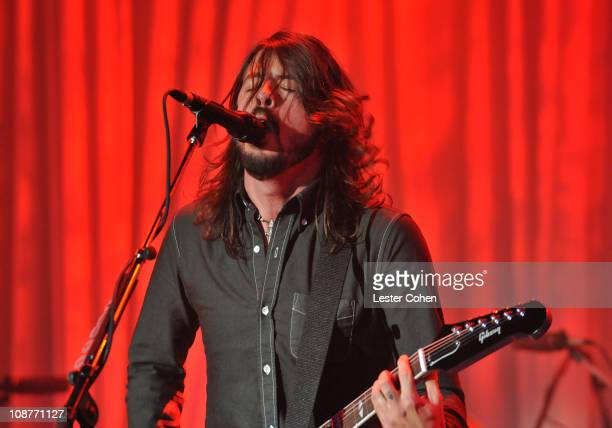 Singer/guitarist Dave Grohl of Foo Fighters performs during the 2008 Clive Davis PreGRAMMY party at the Beverly Hilton Hotel on February 9 2008 in...