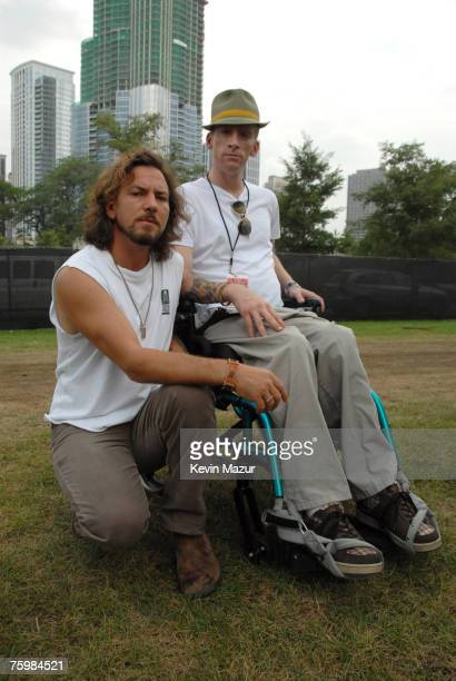 Singer/Guitarist Eddie Vedder of Pearl Jam and Tomas Young Iraq war vetran whose story is told in forthcoming Body of War documentary by Phil Donahue...