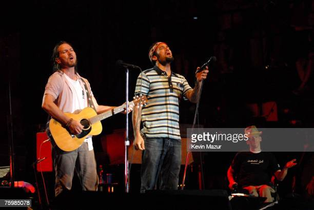 Singer/Guitarist Eddie Vedder of Pearl Jam Musician Ben Harper and Tomas Young Iraq war vetran whose story is told in forthcoming Body of War...