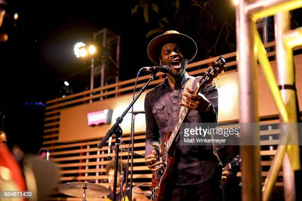 Singer/guitarist Gary Clark Jr performs during the Levis Outpost Rollingstone 2017 SXSW Conference and Festivals on March 17 2017 in Austin Texas