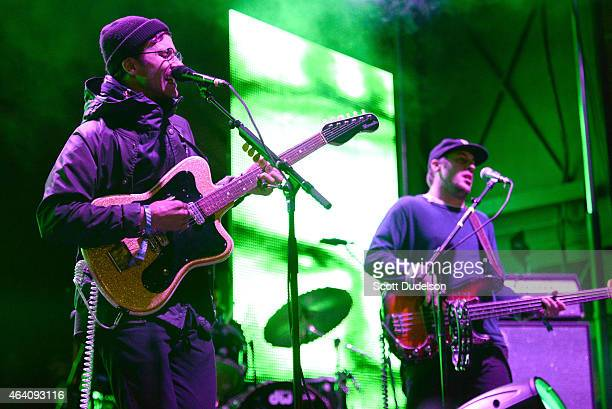 Singer/guitarist John Gourley and bass player Zachary Carothers of Portugal The Man perform onstage at the Rose Bowl on February 21 2015 in Pasadena...