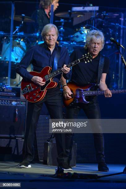 Singer/guitarist Justin Hayward and bassist/songwriter John Lodge of The Moody Blues perform at Hard Rock Live in the Seminole Hard Rock Hotel Casino...