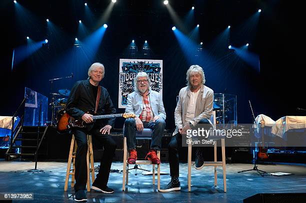 Singer/guitarist Justin Hayward drummer/songwriter Graeme Edge and bassist/songwriter John Lodge of The Moody Blues attend a 'Jobs in Music'...