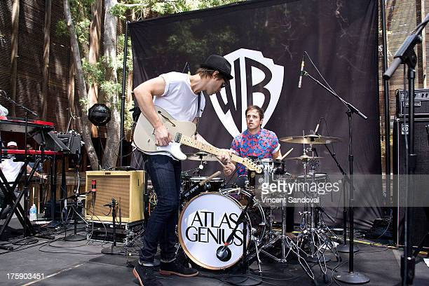 Singer/guitarist Keith Jeffery and drummer Michael Jeffery of Atlas Genius perform at the WBR Summer Sessions at Warner Bros Records boutique store...
