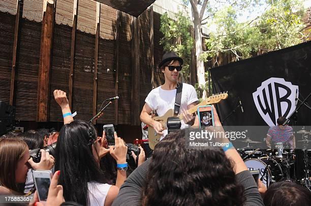 Singer/guitarist Keith Jeffery of Atlas Genius performs live at Warner Bros Records Boutique Store on August 9 2013 in Burbank California