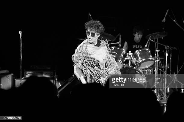 Singerguitarist Mark Mothersbaugh and drummer Alan Myers of Devo perform at The Agora Ballroom on December 27 1978 in Atlanta Georgia