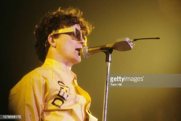 Singerguitarist Mark Mothersbaugh of Devo performs at The Agora Ballroom on December 27 1978 in Atlanta Georgia