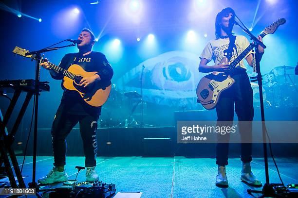 Singerguitarist Ragnar Porhallsson and singerguitarist Nanna Bryndis Hilmarsdottir of Of Monsters and Men perform at The Fillmore on December 03 2019...