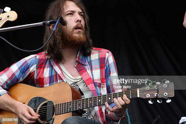 Singer/guitarist Robin Pecknold of Fleet Foxes performs onstage at the Pitchfork Music Festival at Union Park on July 19 2008 in Chicago