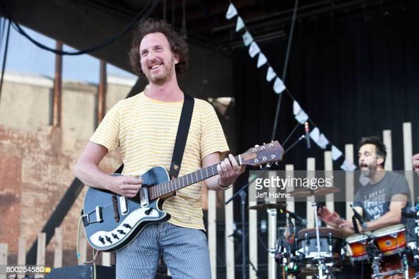 Singer/guitarist Ryan Miller of Guster performs at Charlotte Metro Credit Union Amphitheatre on June 23 2017 in Charlotte North Carolina
