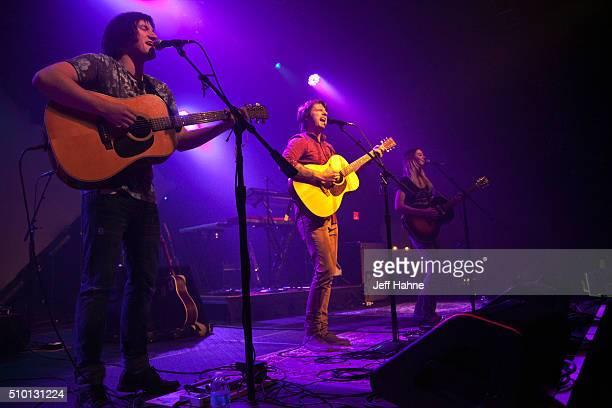 Singer/guitarists Elijah Edwards Mason Van Valin and Megan McAllister of Fairground Saints at The Fillmore Charlotte on February 13 2016 in Charlotte...