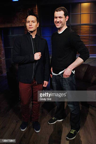 Singer/host Mark Hoppus and comedian Billy Eichner at fuse Studios on February 21 2012 in New York City